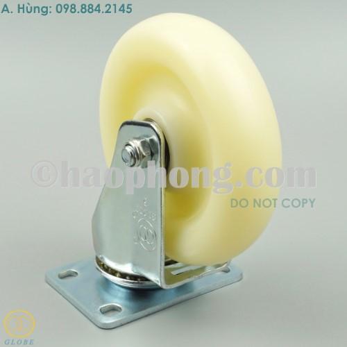 Bánh xe đẩy 125 PA trắng Globe, mặt đế