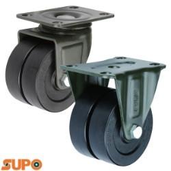 Bánh xe đôi SUPO 75 nhựa PA đen