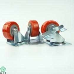 Bánh xe đẩy nhỏ Gia Cường 50 TPU đỏ, mặt đế