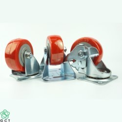 Bánh xe đẩy nhỏ Gia Cường 65 TPU đỏ, mặt đế