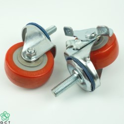 Bánh xe đẩy nhỏ Gia Cường 65 TPU đỏ, cọc vít