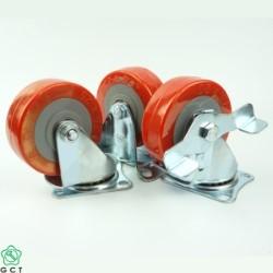 Bánh xe đẩy nhỏ Gia Cường 75 TPU đỏ, mặt đế