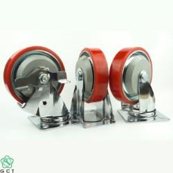 Bánh xe thép Gia Cường G150 PU đỏ cốt thép