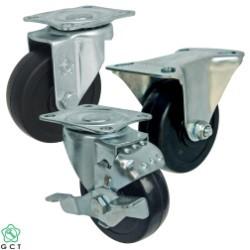 Bánh xe đẩy nhỏ Gia Cường 65 Cao su đặc, mặt đế