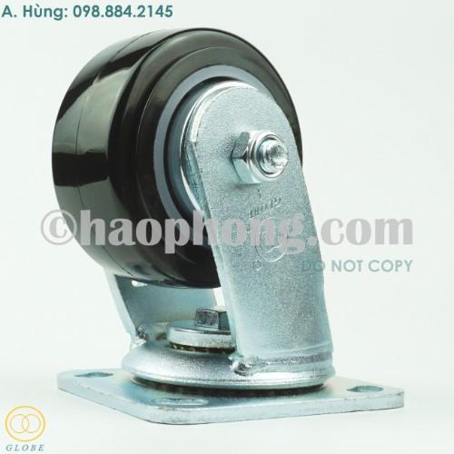 Bánh xe đẩy chịu lực Globe 100 PU đen