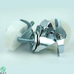 Bánh xe đẩy nhỏ Gia Cường 50 PP trắng, cọc vít M12