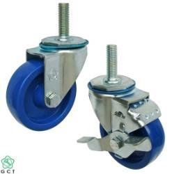 Bánh xe đẩy nhỏ Gia Cường 50 PP xanh, cọc vít M12