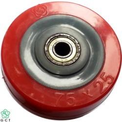 Bánh xe không trục 75 PVC đỏ Gia Cường