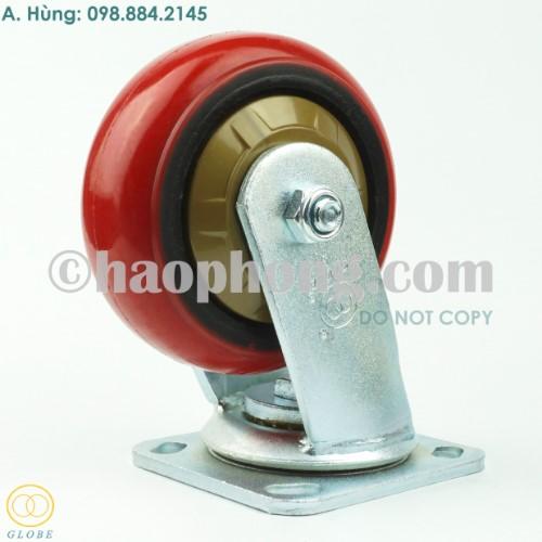 Bánh xe đẩy tải nặng kiểu Hàn Quốc 125 PU gang