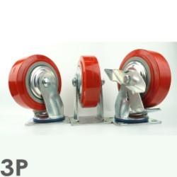 Bánh xe đẩy giá rẻ PH150 nhựa PU đỏ