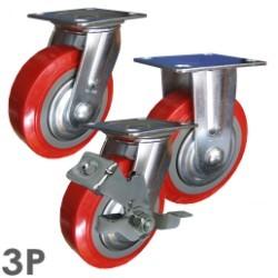 Bánh xe đẩy giá rẻ PH200 nhựa PU đỏ